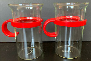 2 BODUM Bistro Cups 10 oz GLASS Coffee Cappuccino Mugs Red Handles