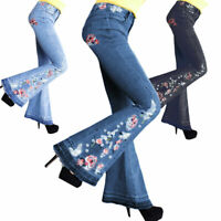 Plus Size Women Flare Denim Embroider Jeans Bell Bottom Stretch Pants Trousers
