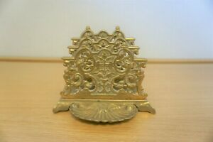 Antique brass pierced letter rack desk tidy traditional ornate Desk Piece