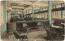 Inerior View at Warren National Bank in Warren PA Postcard