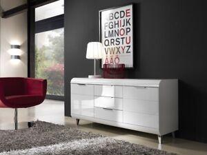 White High Gloss Sideboard Storage Cabinet Italian Modern Furniture Living Vega