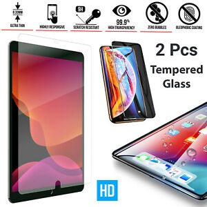 """2 Pack Tempered Glass Clear HD Screen Protector For iPad 10.2"""" iPad 9.7"""", 10.5"""""""