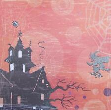 "12X12"" Scrapbook Paper Double Sided Embossed Glitter Halloween Haunted House"