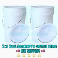 2 X 20L HEAVY DUTY PLASTIC BUCKETS CAR WASH FISHING TUBS CONTAINERS HYDROPONICS