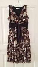 SANDRA DARREN  Brown/Black  Geometric Circle Print  Mesh Dress  Size 4 Petite