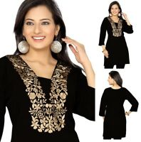 UNIFIEDCLOTHES®️ Top Women Tunic Short Kurti Indian Dress Embroidery BH125 Black