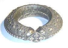 ANTIQUE Silver Plated MASSIVE Ethnic AFRICAN SLAVE Bangle TRIBAL BRACELET