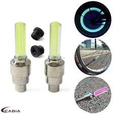 Pair Yellow LED Wheel Rim Valve Stem Cap Light Tire Flash Glow Neon Lamp For Car