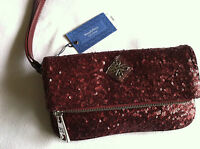 New $49 Simply Vera Wang Fold-Over Sequin Red Wristlet Purse Clutch NWT