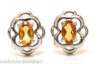 9ct White Gold Citrine Celtic Stud Earrings Made in UK Gift Boxed Christmas Gift