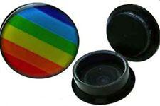 1 PAIR 1/2 INCH RAINBOW PRIDE LESBIAN GAY LGBT PRIDE ACRYLIC STASH PLUGS