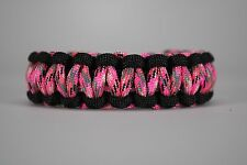 550 Paracord Survival Bracelet Cobra Black/Pink Camo Camping Military Tactical