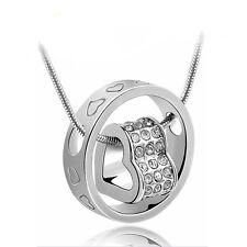 Kette Ring mit Herz mit Swarovski Kristallen Austrian Crystal 18KGP Weißgold pl.