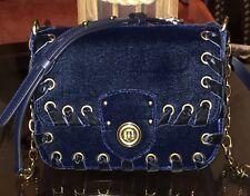 100% Authentic Ralph Lauren Womens Velvet Crossbody Bag Navy Blue Brand New!