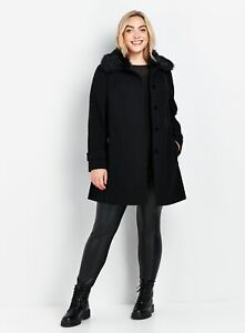 Evans Womens Black Faux Fur Collar Coat Warm Winter Jacket Outwear Top