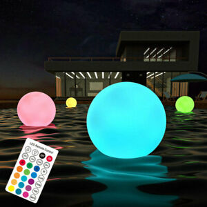 Solar Floating Pool Lights -Pack of 2 Colour Changing 34cm Balls Remote Control