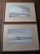 Pair Vintage Peter Scott Oak Framed Prints birds in flight