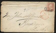 1860's Civil War Era Boston Mass Paid Cover to Brooklyn LI