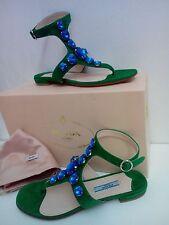 NIB Authentic PRADA Blue Crystals Sandals Size 36 Italy