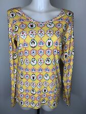 CELIA BIRTWELL For UNI QLO • Long Sleeve Yellow Cat Dog Stretch Top • Size Small