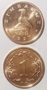 Zimbabwe 1 cent 1997 dove 18mm Bronze clad Steel coin UNC 1pcs km1a