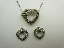 Sterling Silver Marcasite Open Heart Pendant Earring SET