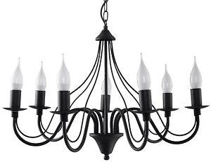 Minerwa 7x E-14 Kerzen, klassisch Kronleuchter Hängeleuchte Hängelampe schwarz