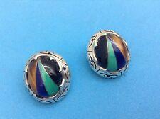 Lapiz Onyx Malichite Tiger Eye Earrings Taxco 925 Sterling Silver 4 Stone Colors