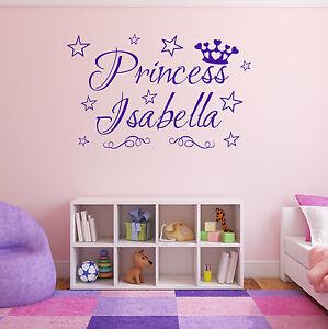 PRINCESS Wall Sticker Personalised Name Crown Girls Bedroom Vinyl Art AD168