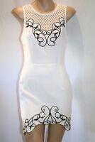 LUVALOT Brand White Black Trim Pattern Sleeveless Bodycon Dress Sz 8 BNWT #TN80