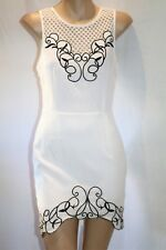 LUVALOT Brand White Black Trim Pattern Sleeveless Bodycon Dress Sz 8 BNWT #TN80