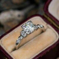 Antique Vintage Retro Engagement Wedding Ring 2.1 CT Diamond 14K White Gold Over