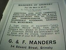 ephemera lincolnshire 1975 advert manders of grimsby hi fi specialists