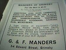 ephemera lincolnshire 1975 advert manders of grimsby hi fi specialists