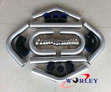 "2.5"" 64mm Aluminum Universal Intercooler Turbo Piping pipe+Black hose kit+Clamps"