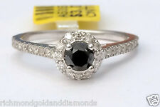 Mystique Black and White Diamonds Halo Engagement Ring White Vintage Cathedral