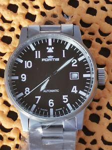 Fortis Flieger Uhr incl. Fortis-Stahlarmband Ref. 595.10.46.1 NOS wie neu!
