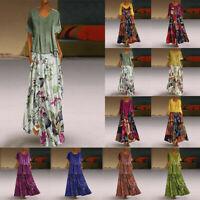 Women's Vintage Boho Print Patchwork O-Neck 2PCS Plus Size Maxi Dress+Tops 12-24