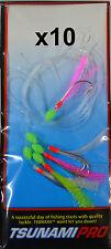 10x Yellow / White / Pink Tsunami Mackerel Cod Feather 6 Hook 1/0 - Bulk 10 Pack