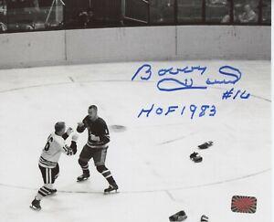 Bobby Hull Chicago Blackhawks signed 8x10 Fight Eddie Shack inscribed HOF 1983