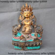 Tibet Buddhism bronze mosaic turquoise 24k Gold wealth Yellow Jambhala Statue