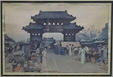 FRAMED YOSHIDA HIROSHI w/ JIZURI JAPANESE WOODBLOCK PRINT - MARKET IN MUKDEN