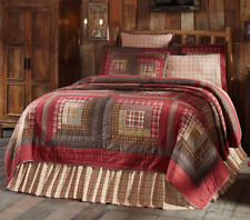 TACOMA King QUILT : RED PLAID BROWN LODGE LOG CABIN WESTERN SOUTHWESTERN