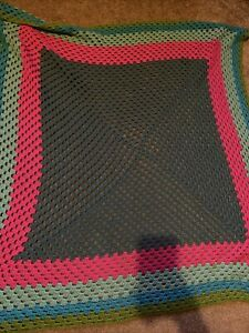 """handmade crochet blanket large 42"""""""