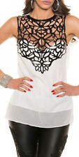 Womens Evening Club Top relaxed fit Blouse open back faux leather decoration