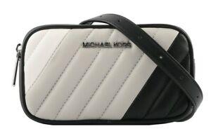 MICHAEL KORS  WAIST BELT BAG Purse Quilted Convertible Belt Bag Black Gray White