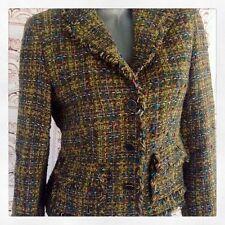 JONES NEW YORK Green Tweed Blazer Jacket Career Sz 4 S Wool Lined Coat