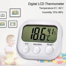 Digital LCD Thermomètre Extérieur Intérieur Hygromètre Humidité Horloge 0℃-50℃