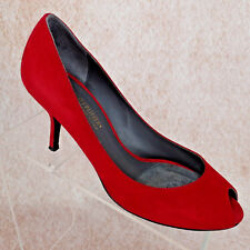 Donald J Pliner Red Suede Pump Heel Kitten Peep Toe Women's Shoe Size 7.5 M