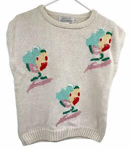 Vtg Jack Winter Hand Knit Short Sleeve Butterfly Sweater Womens Sz M 80s 90 Y2k